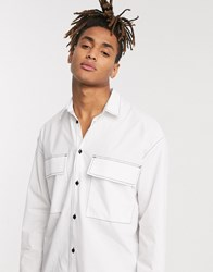 Noak Boxy Long Sleeve Shirt In White With Contrast Stitch