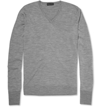 John Smedley Bobby V Neck Merino Wool Sweater Gray