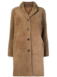 Giorgio Brato Single Breasted Coat Nude And Neutrals