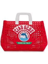 Gcds Perforated Ciao Tote Bag Red