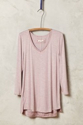 Anthropologie Satin Trimmed Tee Lavender