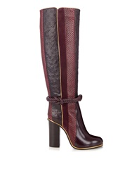Lanvin Python Leather And Suede Knee Length Boots