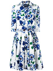 Samantha Sung Floral Print Flared Dress Blue