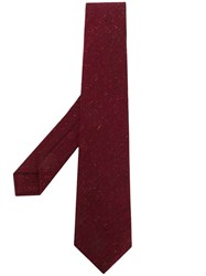 Kiton Pointed Tip Tie Red