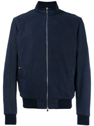 Barba Zip Up Bomber Jacket Blue