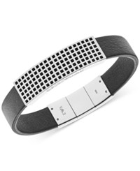 Emporio Armani Men's Stainless Steel And Black Leather Bracelet Egs2119