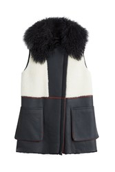 Diane Von Furstenberg Lambskin And Shearling Vest Multicolor