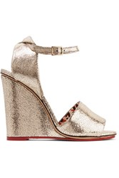 Charlotte Olympia Mischievous Metallic Textured Leather Wedge Sandals Gold