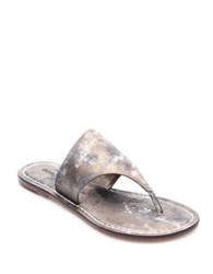 Bernardo Monica Leather Thong Sandals Distressed Metallic