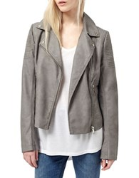 Miss Selfridge Leatherette Moto Jacket Grey