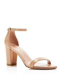 Stuart Weitzman Nearlynude Nappa Leather Ankle Strap High Heel Sandals Bambina Beige