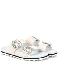 Roger Vivier Slidy Viv Leather Slip On Sandals White