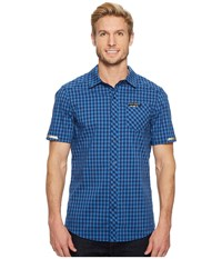 Pearl Izumi Short Sleeve Button Up Blue Depths Delft Plaid