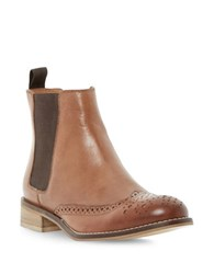 Dune Quentin Brogue Leather Chelsea Booties Tan