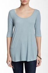 Heather By Bordeaux Elbow Length Sleeve Scoop Tee Blue