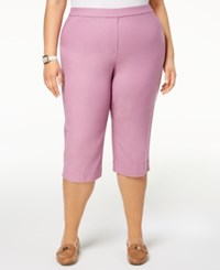 Alfred Dunner Los Cabos Plus Size Pull On Capri Pants Orchid