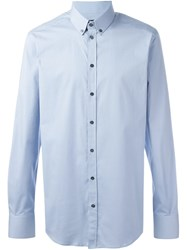 Dolce And Gabbana Button Down Collar Shirt Blue