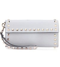 Valentino Garavani Rockstud Leather Clutch Grey