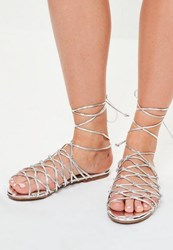 Missguided Silver Knotted Gladiator Flat Sandals
