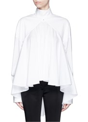 Esteban Cortazar Open Back High Collar Flare Poplin Blouse White