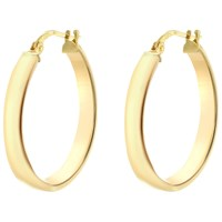 Ibb 9Ct Yellow Gold Creole Hoop Earrings Gold