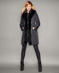 The Fur Vault Fox Fur Trim Quilted Puffer Coat Black