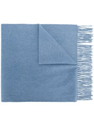 N.Peal Large Woven Scarf Blue