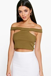 Boohoo Off The Shoulder Rib Cut Out Crop Olive