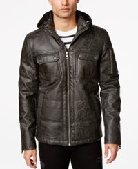Guess Calvin Faux Leather Hooded Jacket