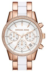 Women's Michael Michael Kors 'Ritz' Chronograph Bracelet Watch 37Mm White Rose Gold