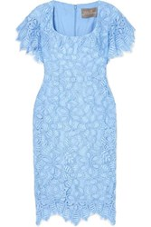 Lela Rose Corded Lace Dress Sky Blue