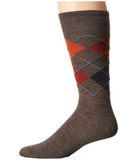 Smartwool Diamond Slim Jim Taupe Moab Rust Men's Crew Cut Socks Shoes Brown