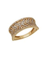Lord And Taylor Diamond And 14K Yellow Gold Chevron Ring 0.5Tcw