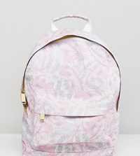 Mi Pac Exclusive Mini Tumbled Backpack In Feather Print Pink Feathers Multi