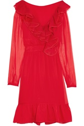 Valentino Ruffled Organza Trimmed Silk Chiffon Mini Dress Red