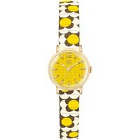 Orla Kiely Women's Frankie Leather Strap Watch Multi Yellow