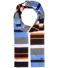 Michael Michael Kors Stable Stripe Menage Dot Long Skinny Scarf Navy Blue Poppy Scarves Multi