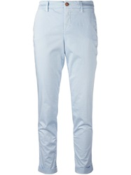 Fay Cropped Chino Trousers Blue