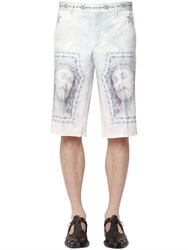 Givenchy Jesus Print Cotton Denim Bermuda Shorts
