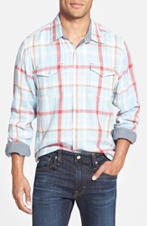 True Grit 'Taos' Double Face Twill Sport Shirt Blue Red Natural