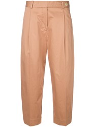 Mauro Grifoni Banana Cropped Trousers Nude And Neutrals