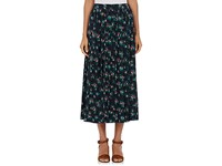 Tomorrowland Women's Pleated Floral Midi Skirt Navy