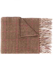 Polo Ralph Lauren Houndstooth Scarf Brown