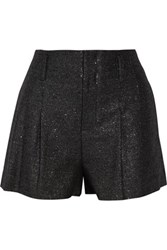 Alice Olivia Pleated Metallic Tweed Shorts Black