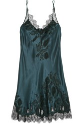 Carine Gilson Chantilly Lace Trimmed Silk Satin Chemise Midnight Blue