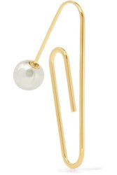 Hillier Bartley Gold Plated Faux Pearl Earring One Size