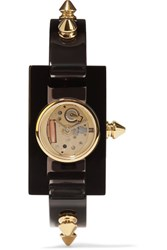 Gucci Plexiglass And Gold Tone Watch Black