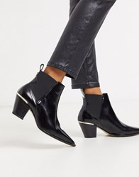 Ted Baker Rilanni Shiny Leather Western Boots Black