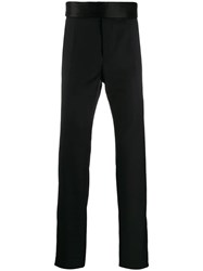 Dolce And Gabbana Oversized Waistband Tailored Trousers Black