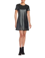 Design Lab Lord And Taylor Embellished Faux Leather Shift Dress Black